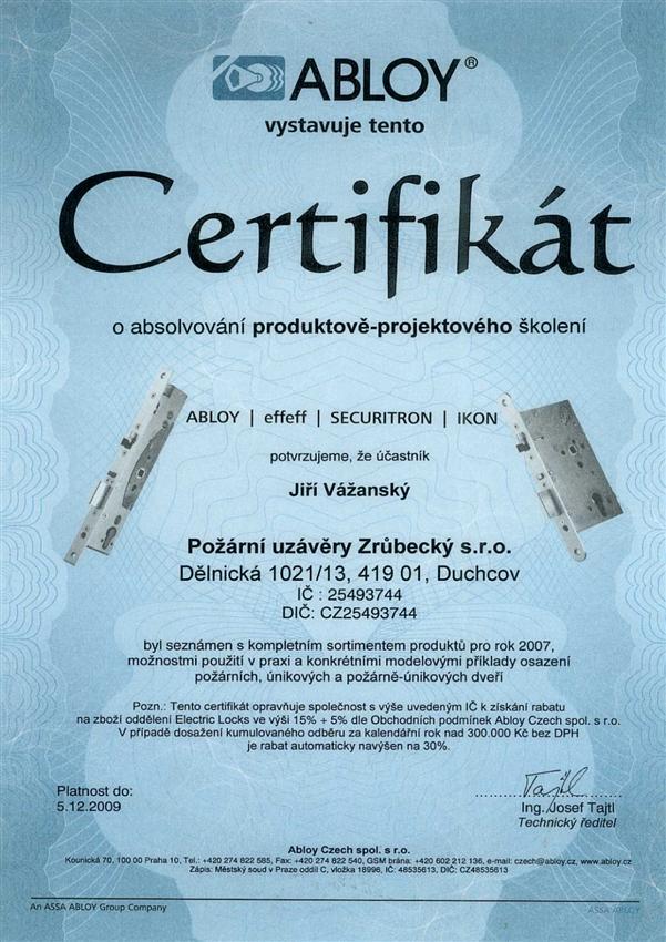 Certifikát ABLOY