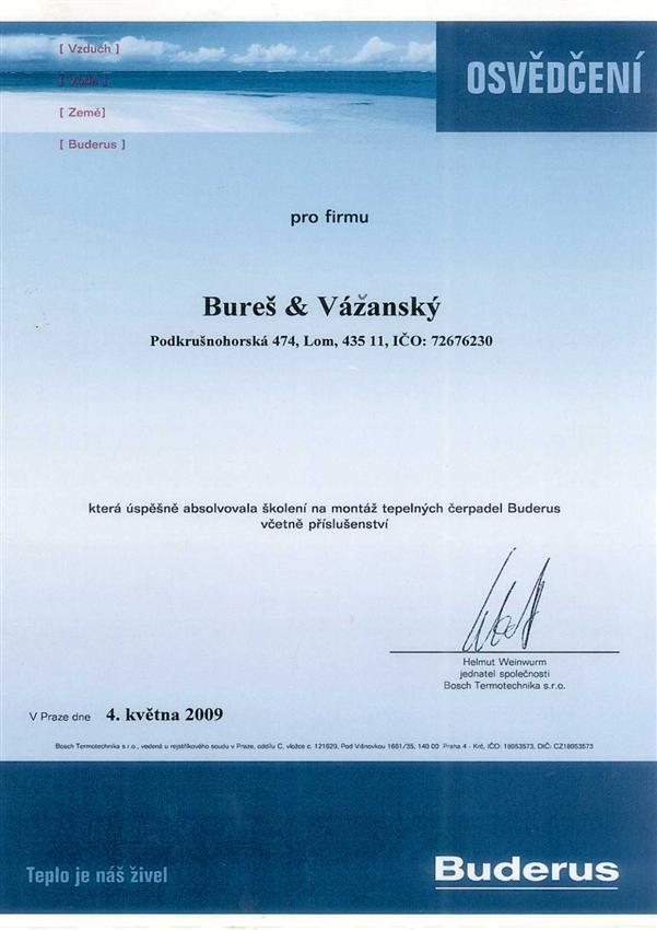 Certifikát montáž teleplných čerpadel Buderus