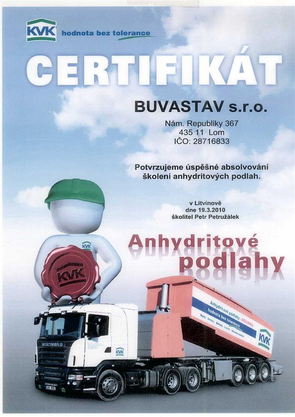 Certifikát Anhydritové podlahy KVK